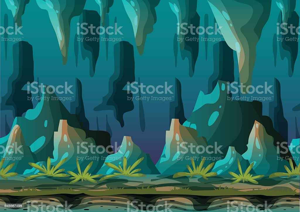 Cartoon vector cave landscape with separated layers vector art illustration