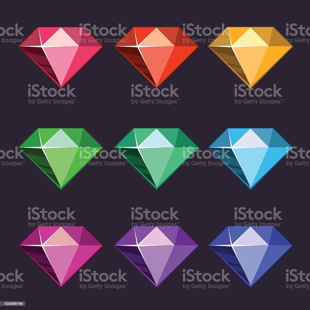 Cartoon vector diamonds icons vector art illustration