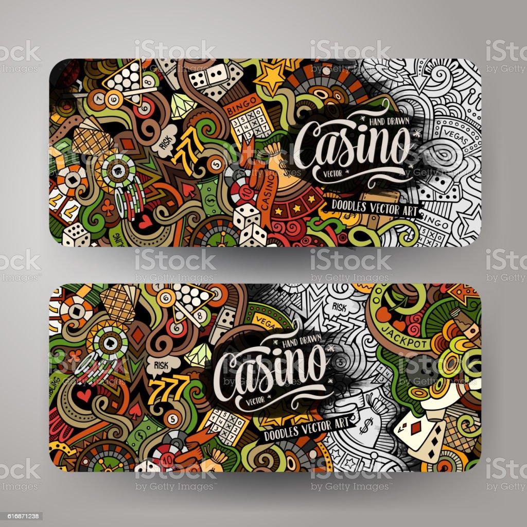 Cartoon vector doodles casino banners vector art illustration