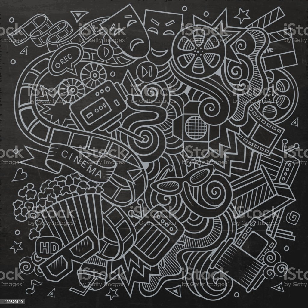 Cartoon vector hand-drawn Cinema Doodle. Chalkboard design backg vector art illustration