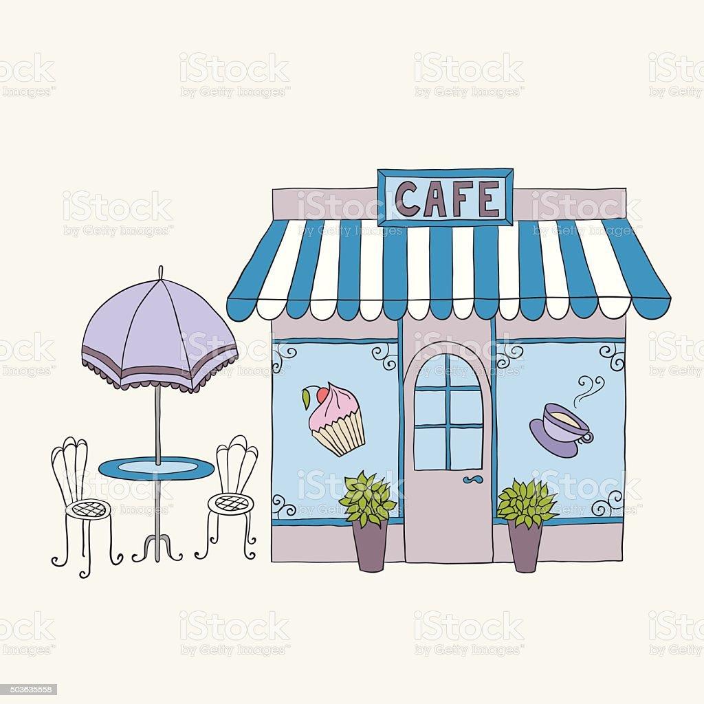 Cartoon vector illustration of street cafe vector art illustration
