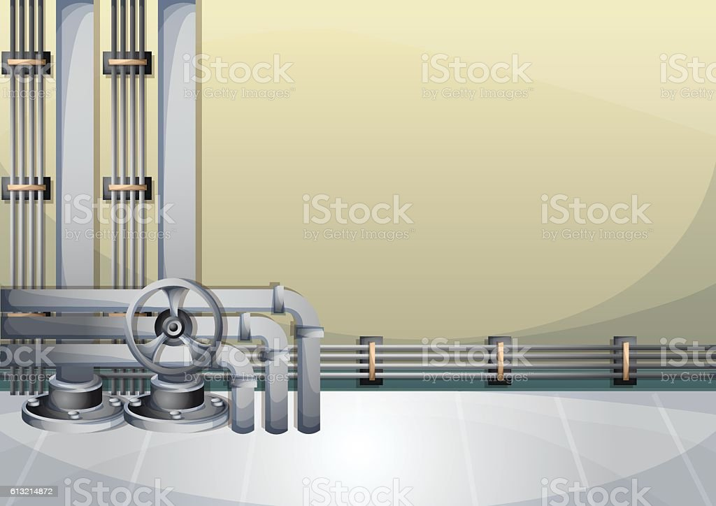 cartoon vector illustration water pipe wall with separated layers vector art illustration