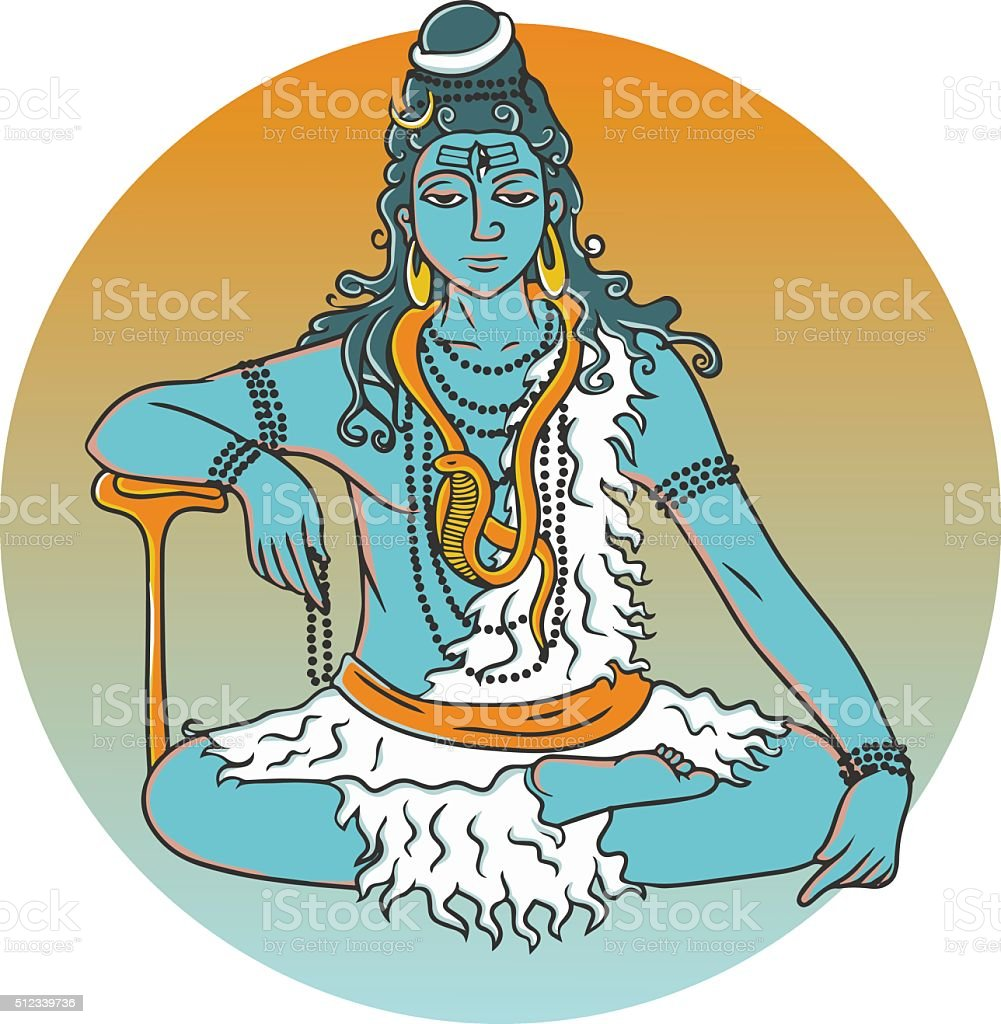 cartoon vector lord Shiva vector art illustration