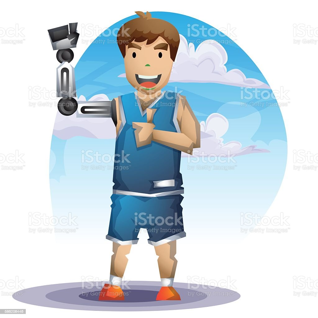 Cartoon vector man with Prostheses leg with separated layers vector art illustration