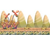 cartoon vector nature landscape background with separated layers
