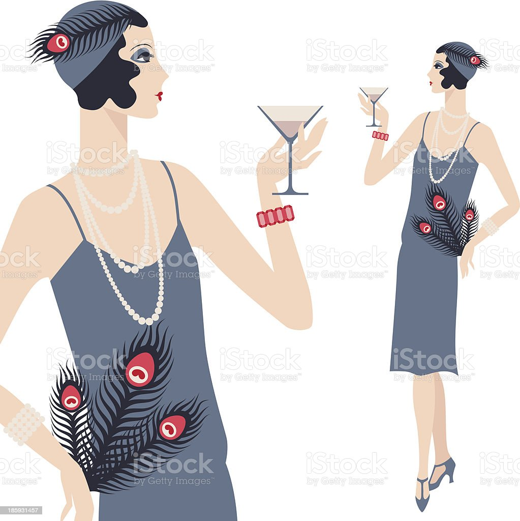 A cartoon vector of a retro, young girl in a 1920s style vector art illustration