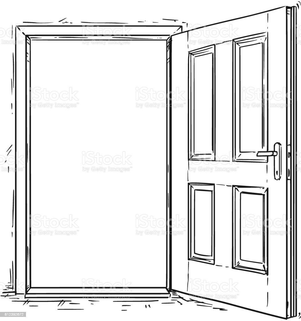 Vecteur de dessin anim de porte en bois ouverte stock for Porte wc dessin