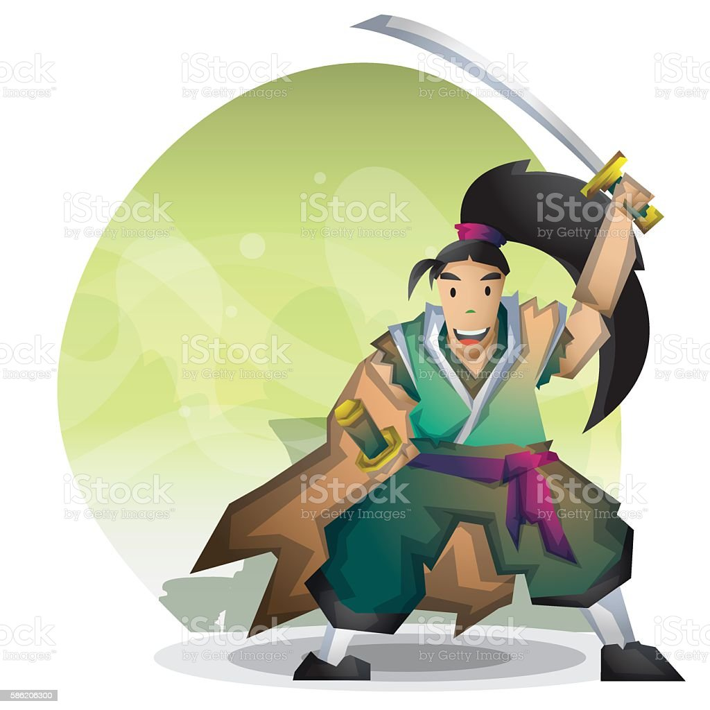 Cartoon vector samurai with separated layers vector art illustration
