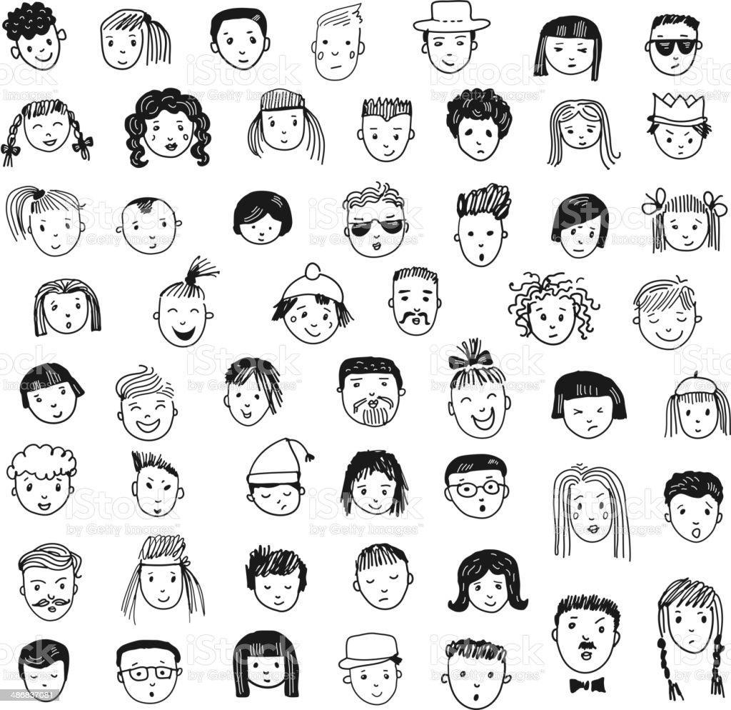 Cartoon vector set. 53 different funny faces. vector art illustration