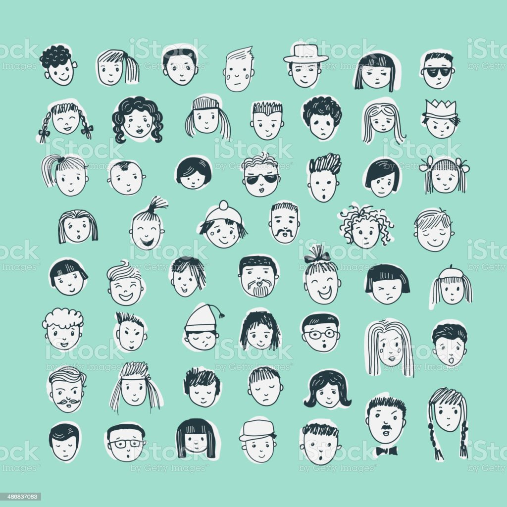 Cartoon vector set. 53 different funny faces. vector art illustration