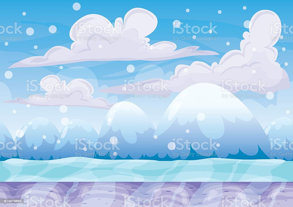 cartoon vector snow landscape background with separated layers vector art illustration