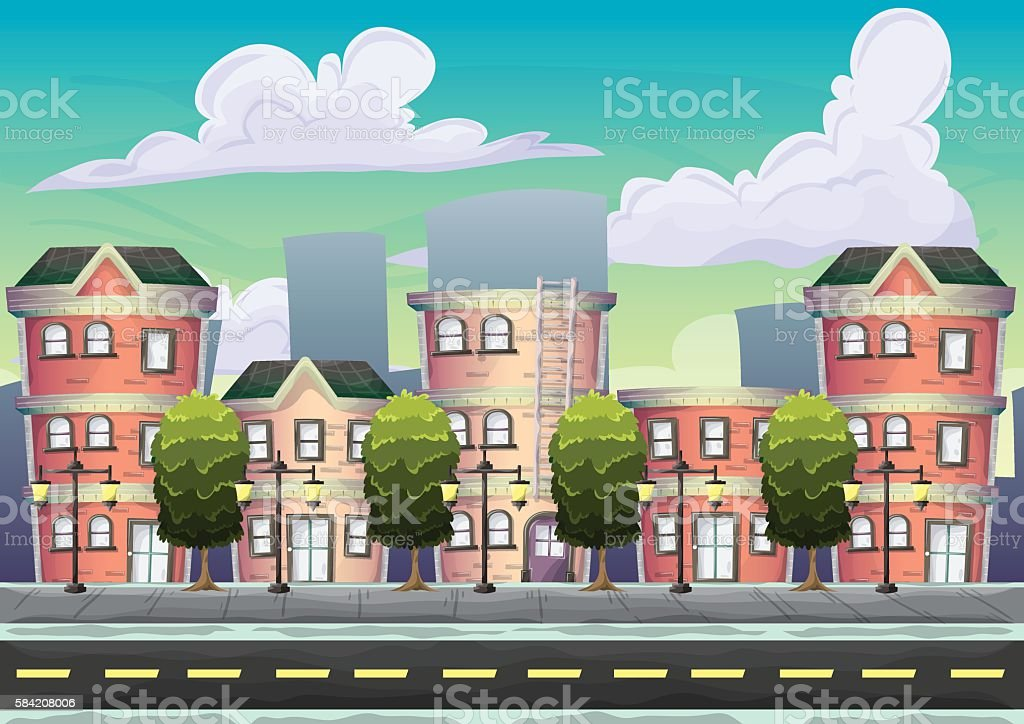 Cartoon vector urban landscape with separated layers vector art illustration
