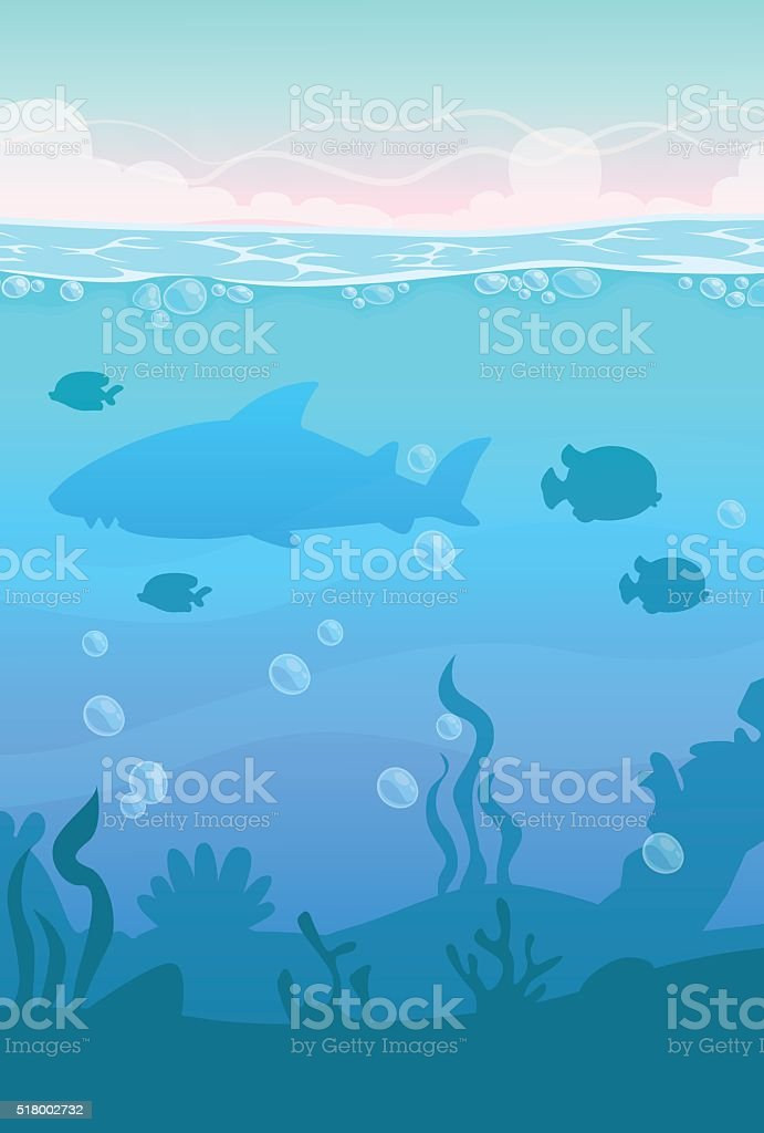 Cartoon vector vertical underwater landscape vector art illustration