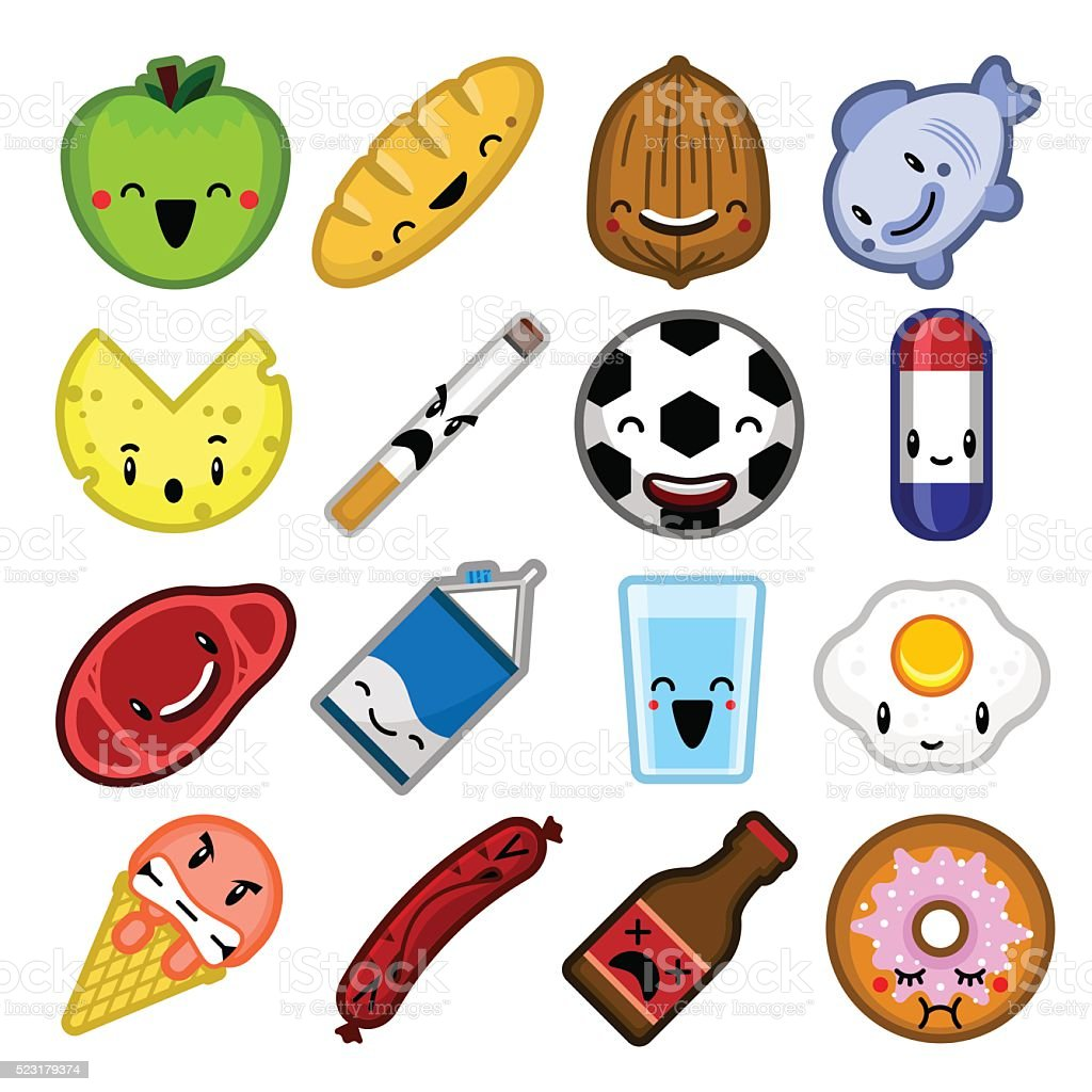 Cartoon vector video game food icon characters avatars vector art illustration