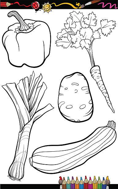 cartoon vegetables set for coloring book vector art illustration