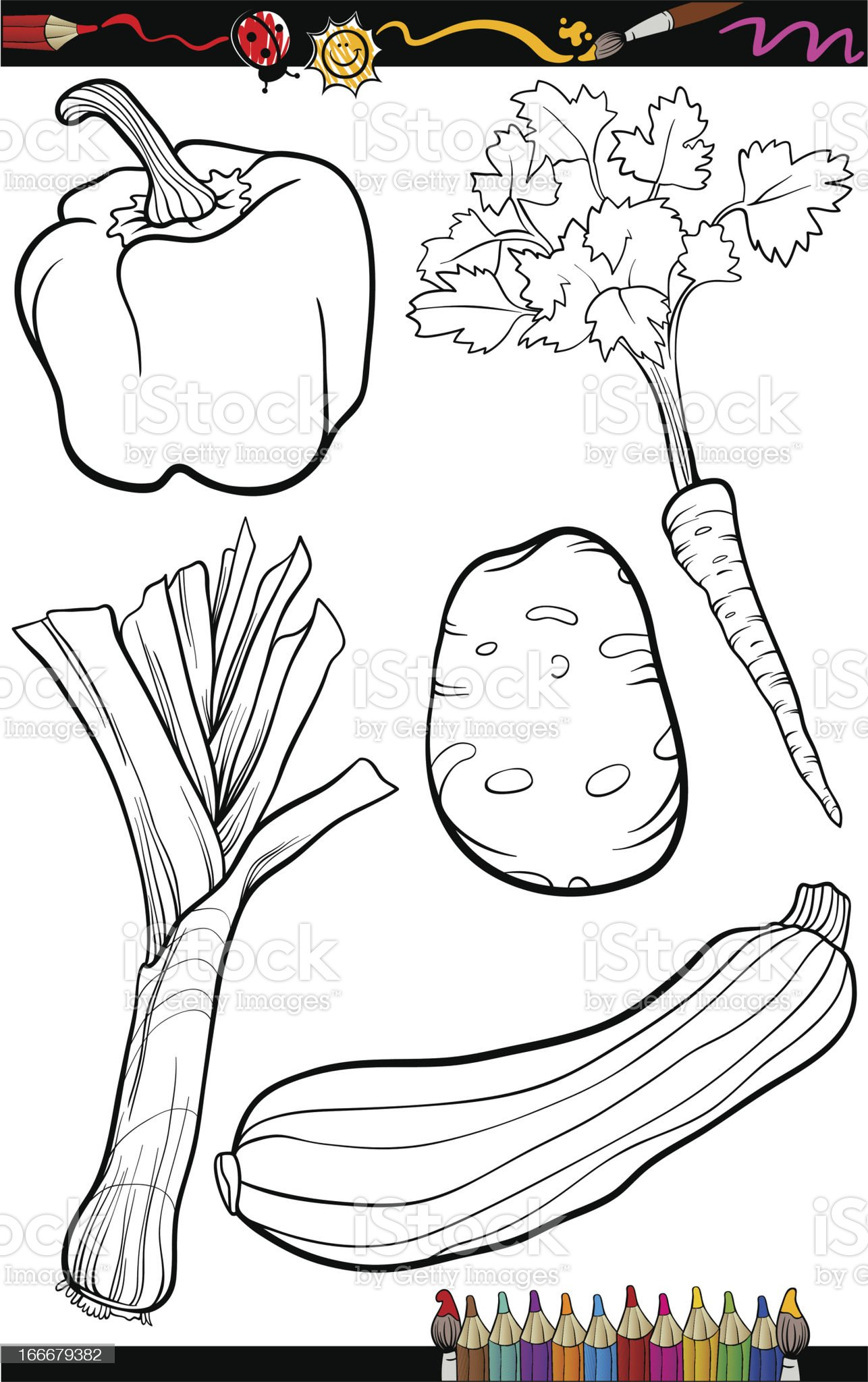 cartoon vegetables set for coloring book royalty-free stock vector art