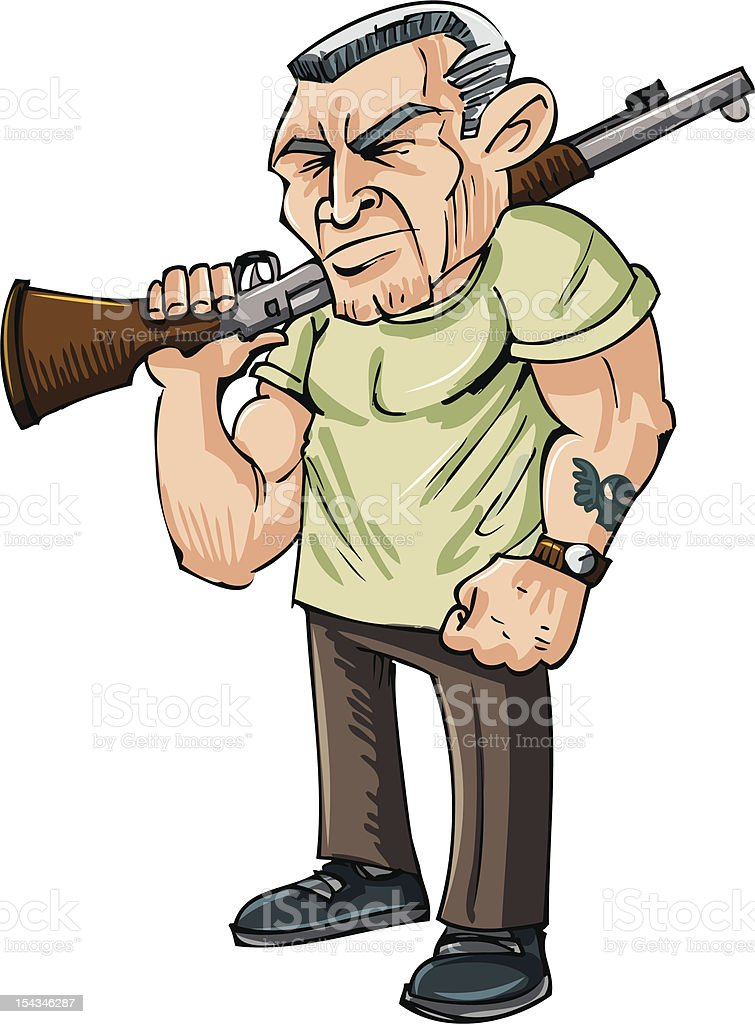Cartoon Vietnam vet with a rifle royalty-free stock vector art