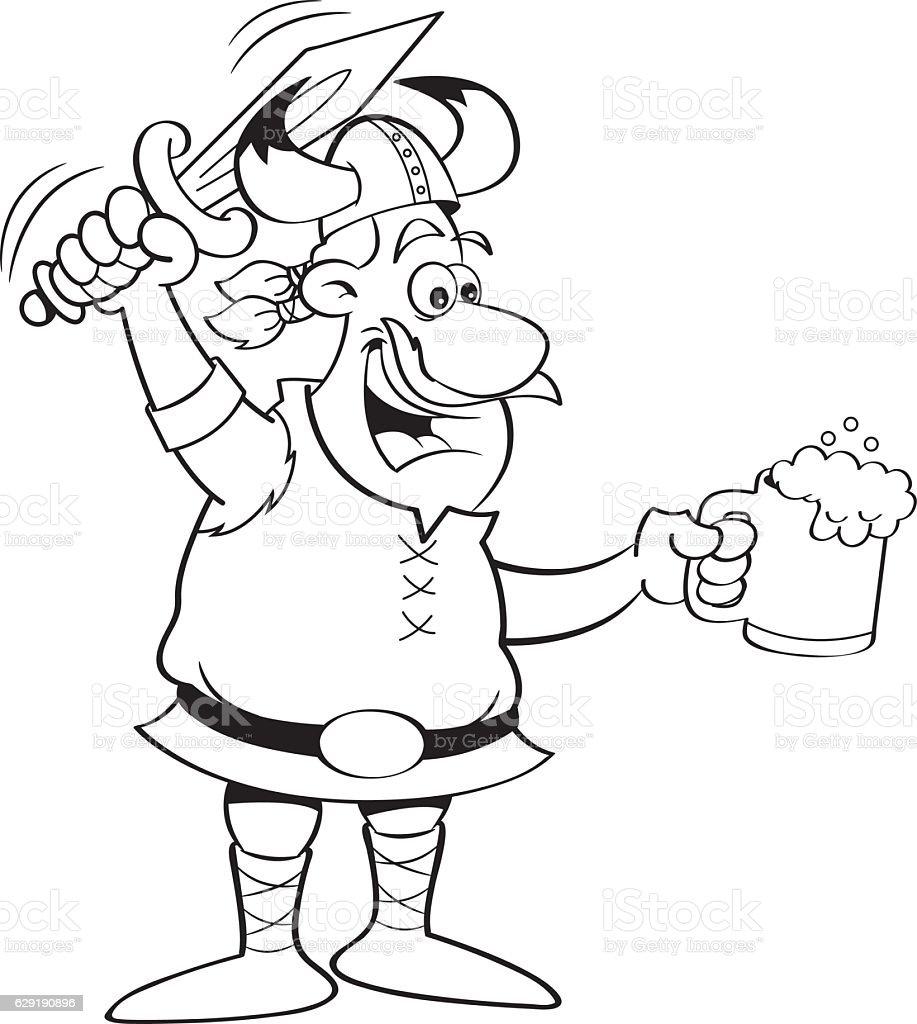 Cartoon viking holding a sword and a mug. vector art illustration
