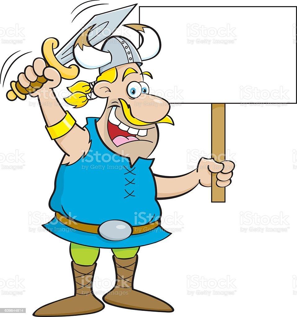 Cartoon viking waving a sword and holding a sign. vector art illustration