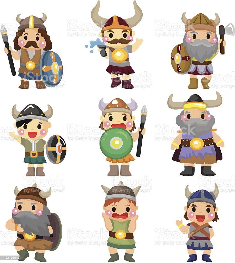 cartoon Vikings people icons vector art illustration