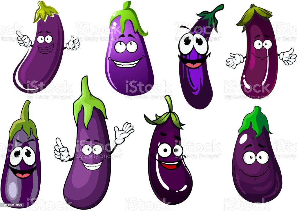 Cartoon violet eggplants or aubergines vegetables vector art illustration