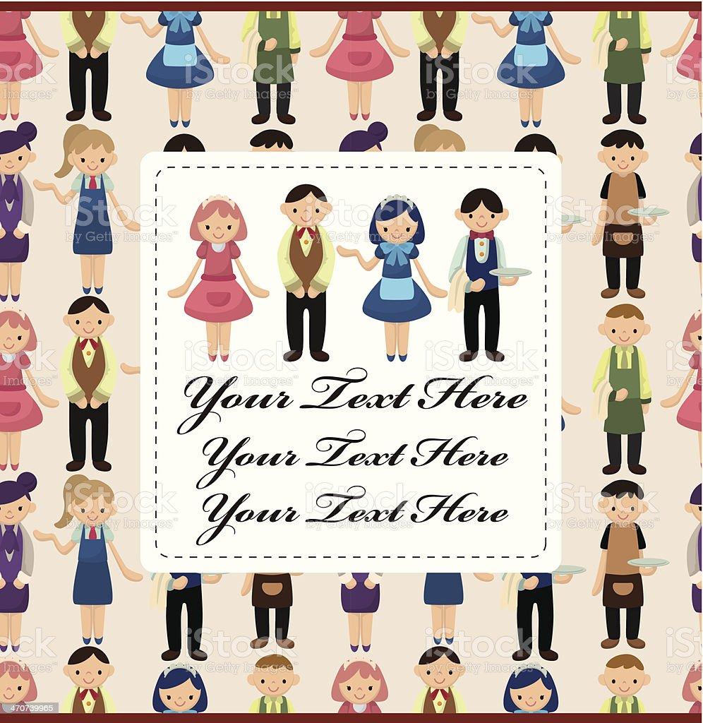 cartoon waiter and waitress card royalty-free stock vector art