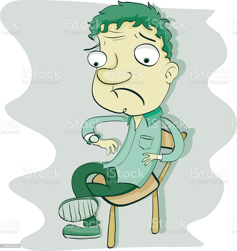 cartoon waiting man vector art illustration