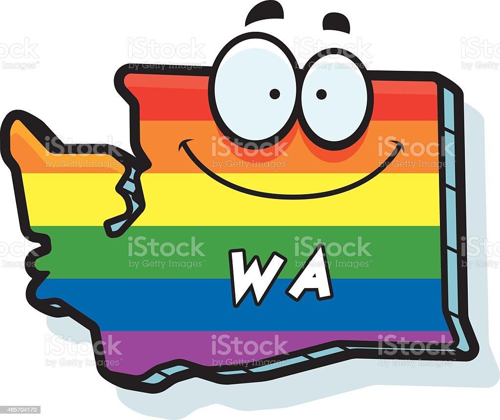 Cartoon Washington Gay Marriage vector art illustration