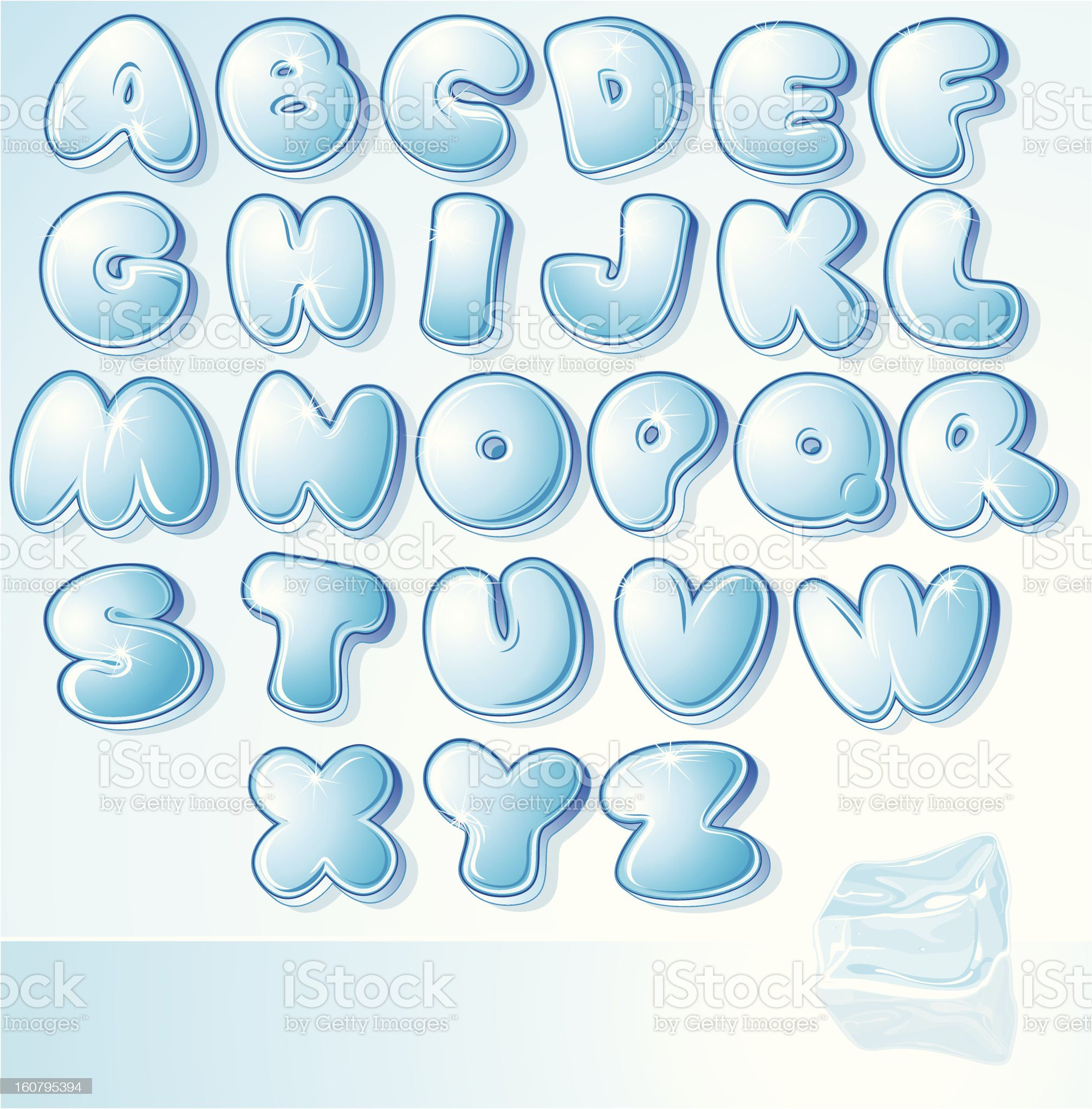 Cartoon Water Alphabet. Vector Clipart royalty-free stock vector art