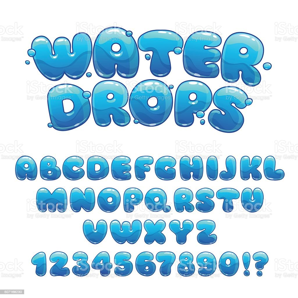Cartoon water drops font vector art illustration
