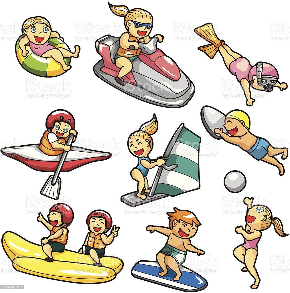 cartoon water sport icon royalty-free stock vector art