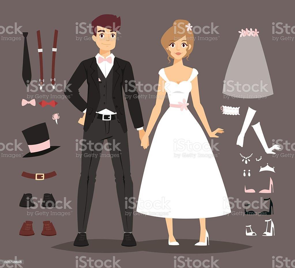 Cartoon wedding couple and ixons vector illustration vector art illustration