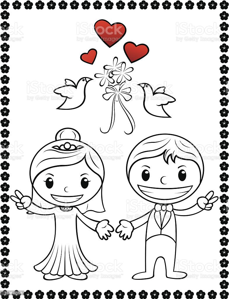 cartoon wedding couple royalty-free stock vector art