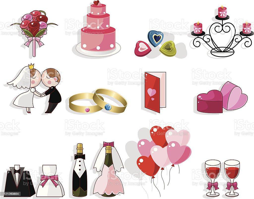 cartoon wedding icon set royalty-free stock vector art
