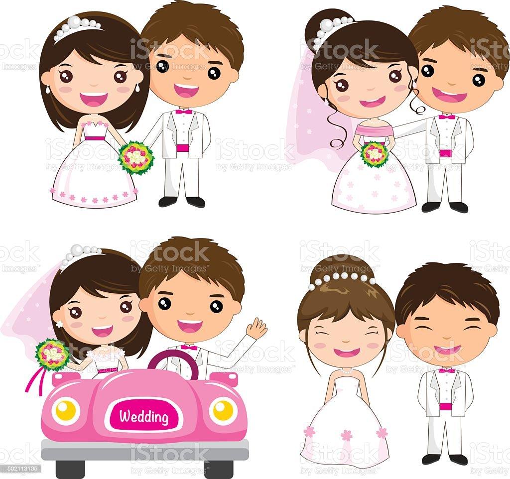cartoon wedding set royalty-free stock vector art