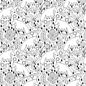 Cartoon white bears, birds and flowers. Colorful Seamless Pattern.