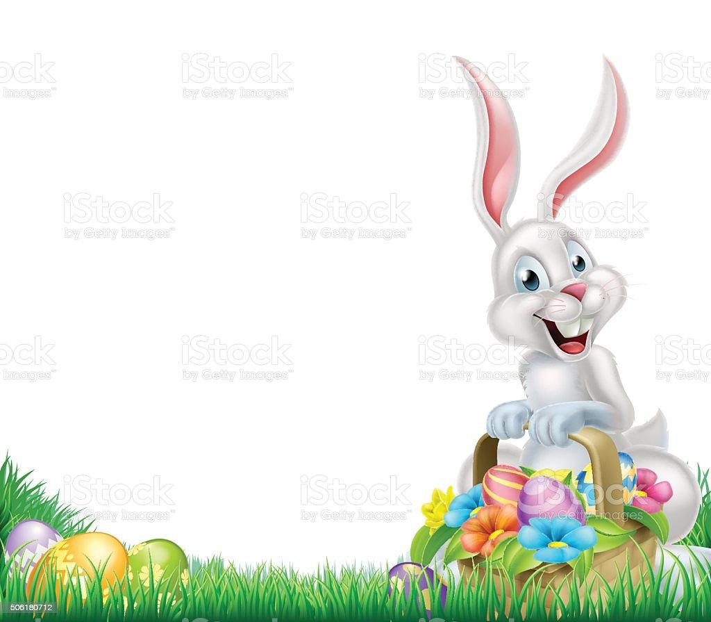 Cartoon White Easter Bunny Egg Basket vector art illustration