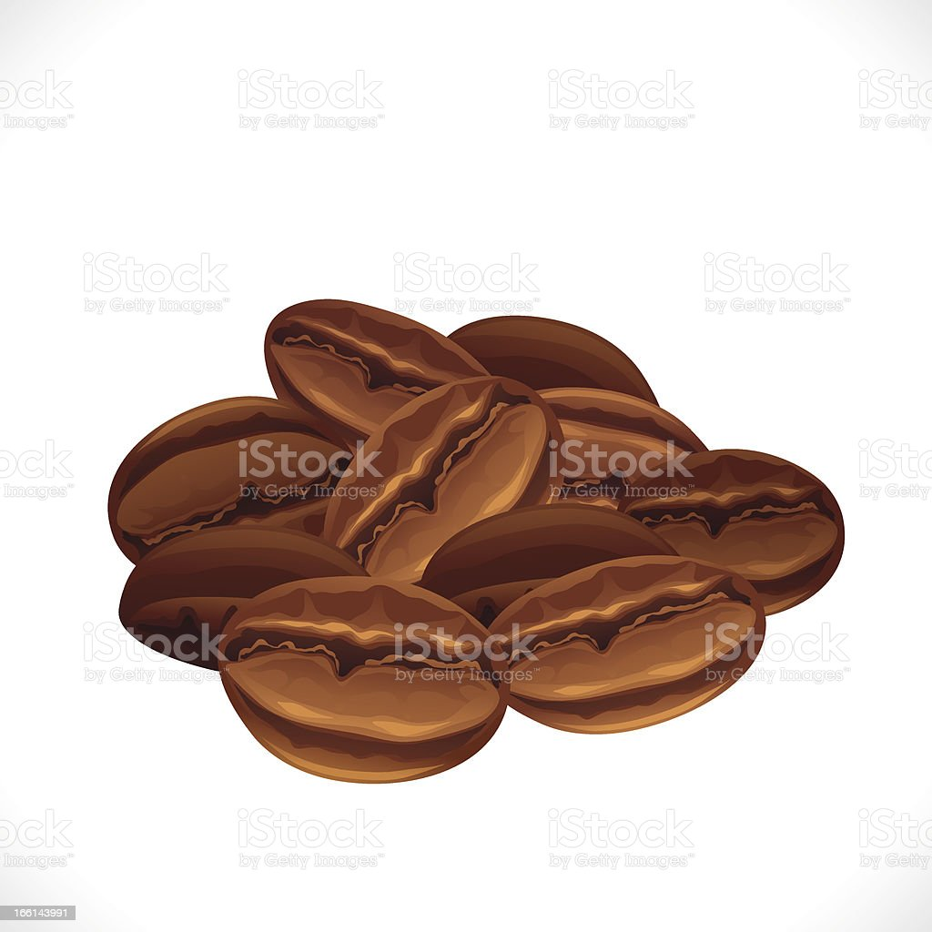 Cartoon whole brown coffee beans vector art illustration
