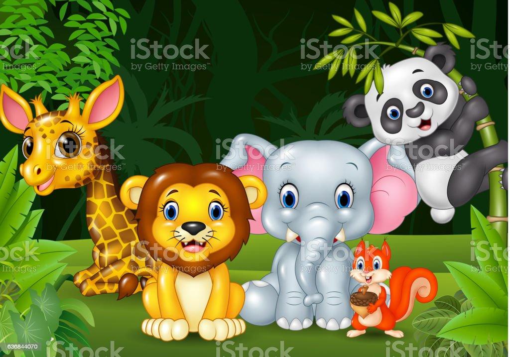 Cartoon wild animal in the jungle vector art illustration