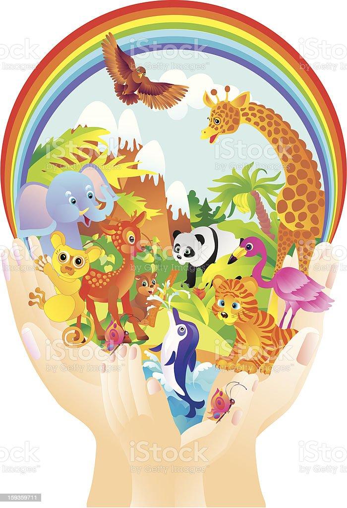 Cartoon wild animals in hands royalty-free stock vector art