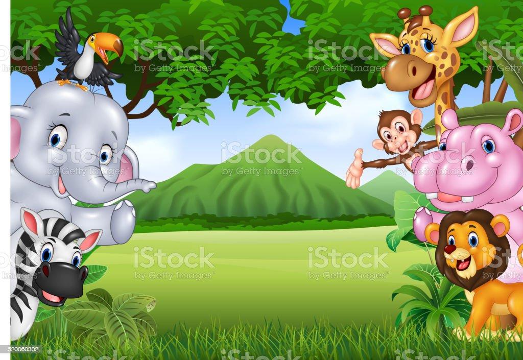 Cartoon wild animals with nature landscape background vector art illustration