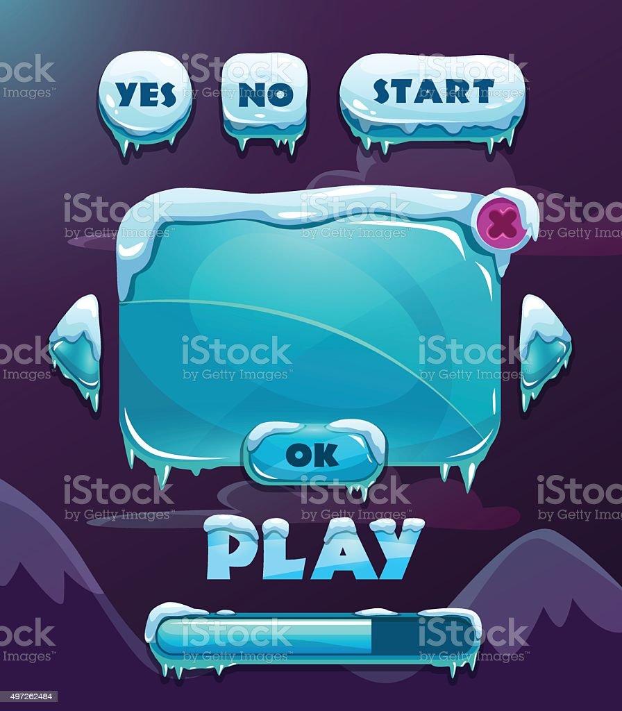 Cartoon winter game user interface vector art illustration