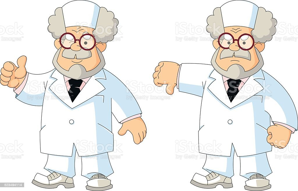 Cartoon wise old doctor. Gestures and emotions. vector art illustration