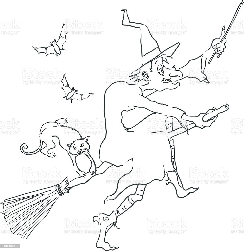 Cartoon Witch Flying on a Broomstick - Halloween royalty-free stock vector art