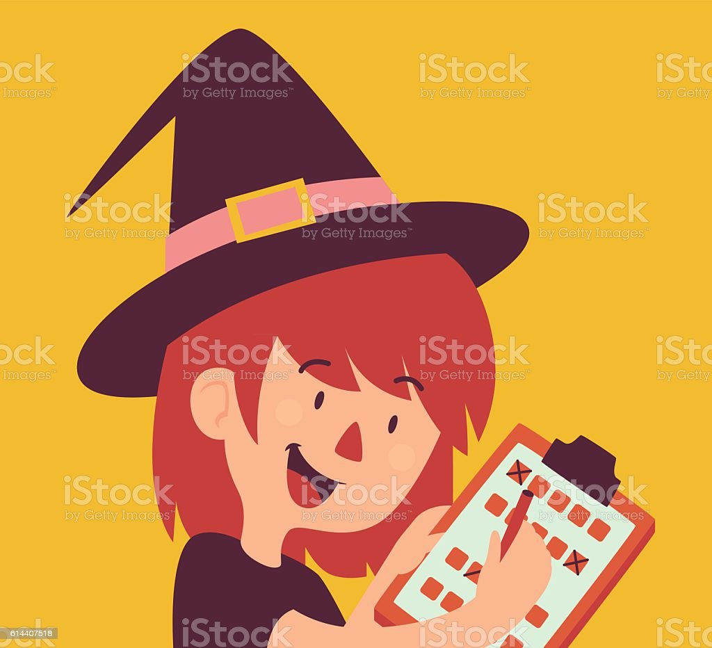 Cartoon Witch Holding Form vector art illustration