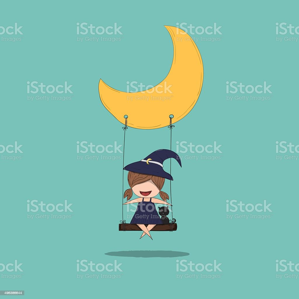 Cartoon witch holding swinging on a moon cute halloween, drawing vector art illustration