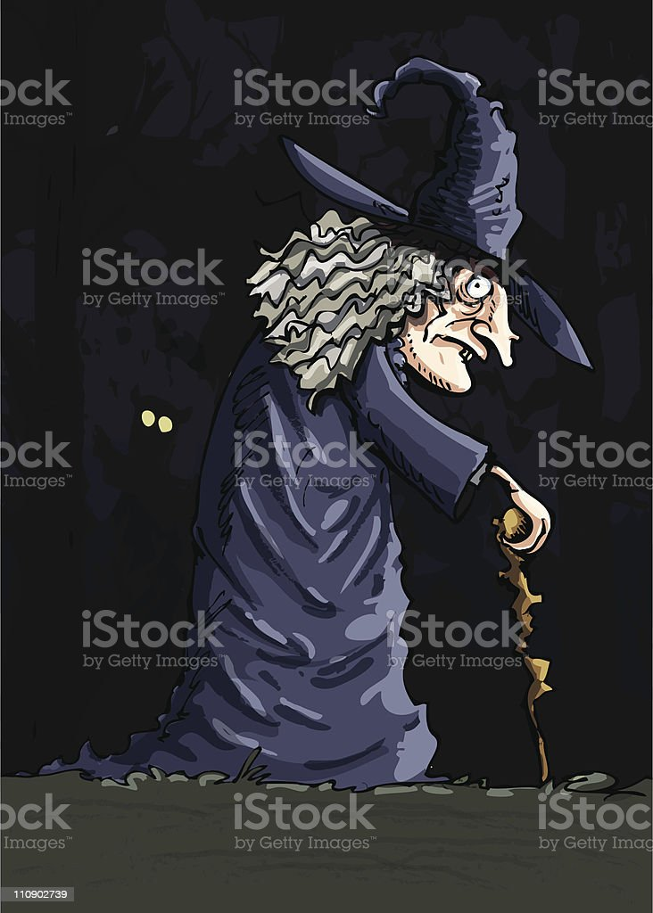 Cartoon witch in a creepy forest royalty-free stock vector art