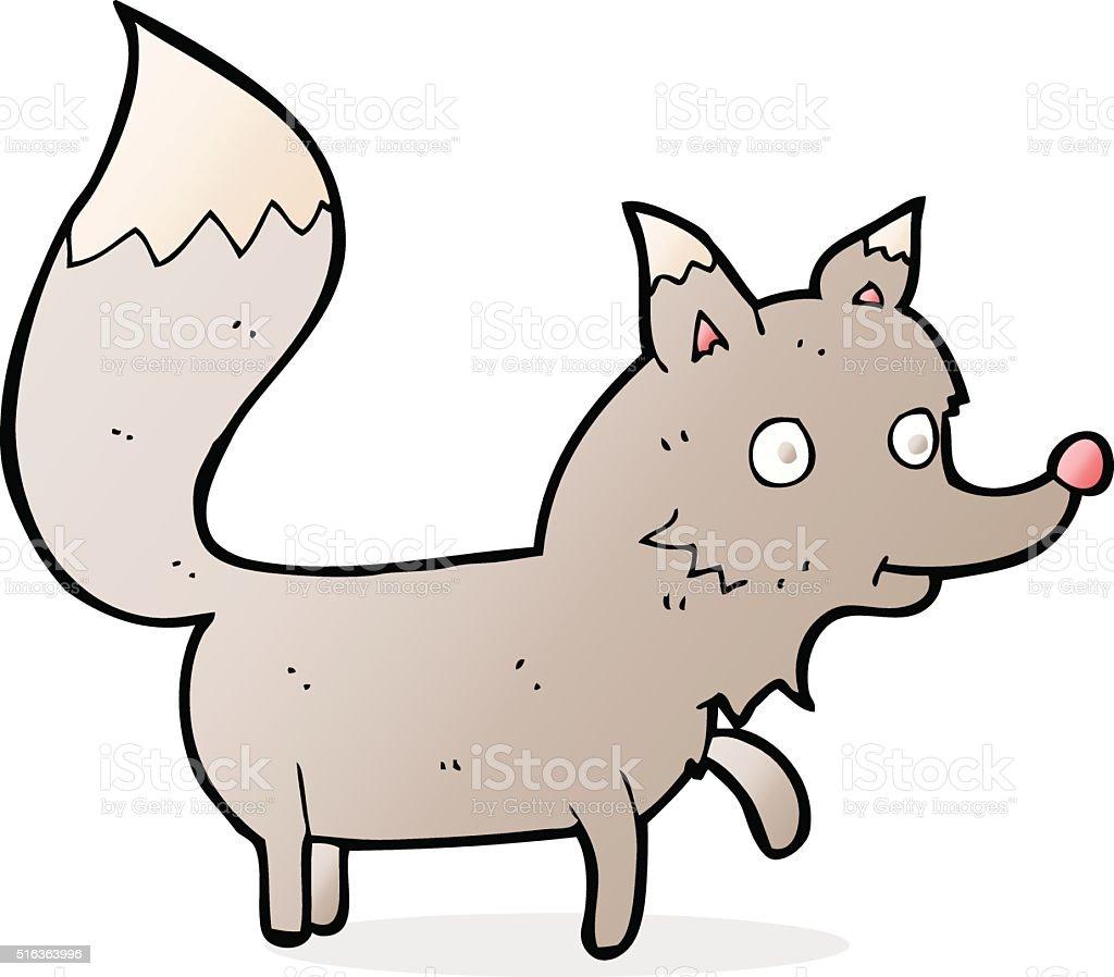 cartoon wolf cub vector art illustration