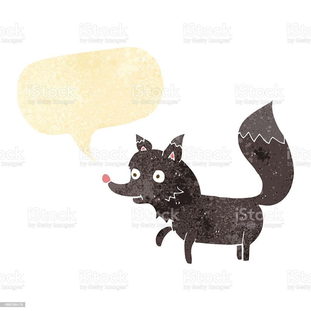 cartoon wolf cub with speech bubble vector art illustration