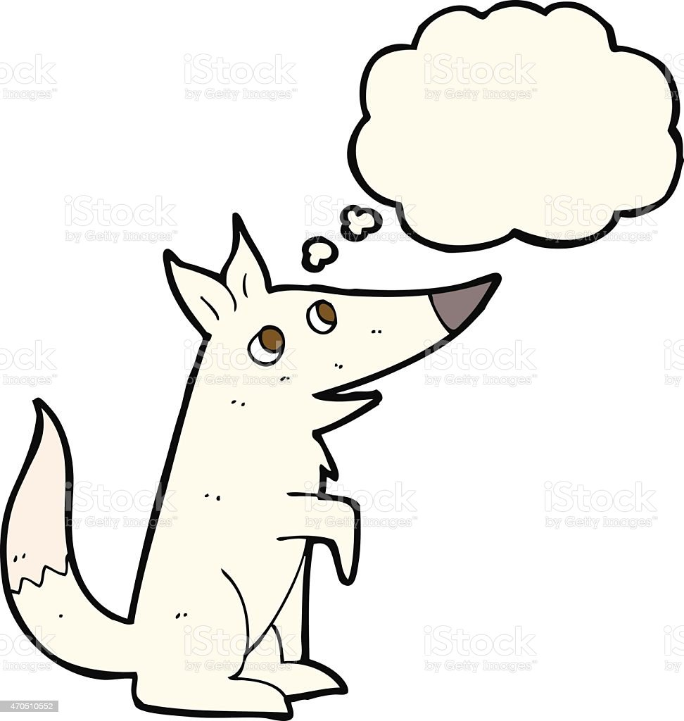 cartoon wolf cub with thought bubble vector art illustration